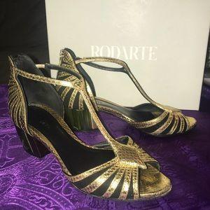Rodarte suede/ gold leather sandal bootie